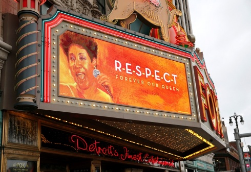 "The marquee on the Fox Theater shows the word ""Respect' in memory of singer Aretha Franklin in downtown Detroit"